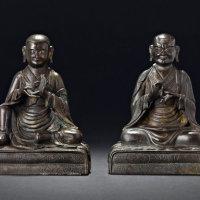清乾隆 铜漆金罗汉坐像两尊