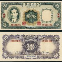 24年中央银行财政部四川拾圆一枚