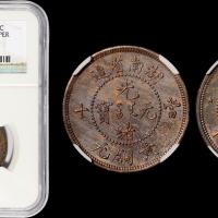 湖南光绪元宝十文黄铜元红铜样币NGC MS63BN