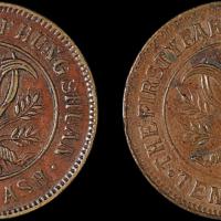 湖南开国纪念粗、细英文十文铜币各一枚