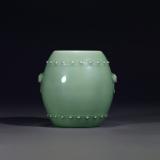 清乾隆 翠青釉铺首鼓式罐