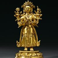 清乾隆 铜鎏金弥勒菩萨立像