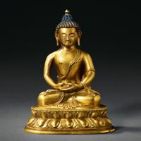 清乾隆 铜鎏金释迦牟尼佛坐像