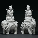 清晚期 德化窑白瓷文殊、普贤菩萨坐像各一尊