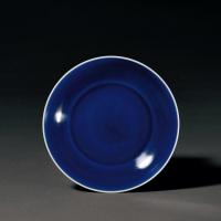 清康熙 霁蓝釉盘
