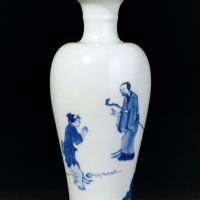 清康熙 青花《桃花源记》故事图观音瓶