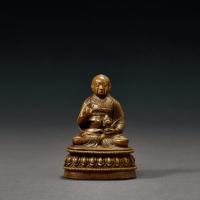 明早期 铜嵌银萨迦派祖师坐像