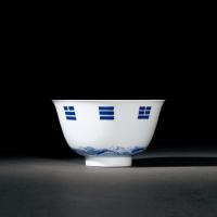 清康熙 青花海水八卦纹碗