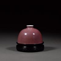 清康熙 豇豆红釉暗刻团螭纹太白尊