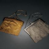 清末民初银、银鎏金编织手袋各1件