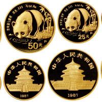 1987年熊猫纪念金币1套5枚全