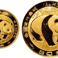 1983年熊猫纪念金币10元/50元PCGS MS69×2