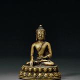 元末明初 铜嵌银、红铜释迦牟尼佛坐像