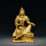 清中期 铜鎏金自在观音像