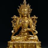 明早中期 铜鎏金文殊菩萨坐像