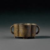 清中期 铜如意耳海棠式琴炉