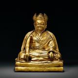 清早期 铜鎏金二世噶玛巴噶玛拔希坐像
