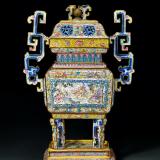 清乾隆 铜胎画珐琅八仙祝寿图大盖炉