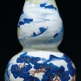清康熙 釉里三彩山水图葫芦瓶