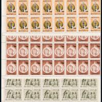 韩国邮票五十枚全张2件/三十二枚方连2件