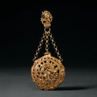 民国时期福增款银鎏金双龙香囊