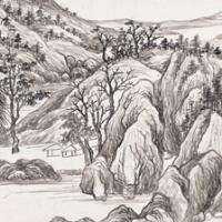 俞子才画、吴湖帆题 溪山清秀图卷