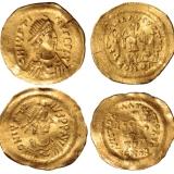 七世纪东罗马拜占庭帝国皇帝查斯丁二世半身像1/3索利多金币二枚
