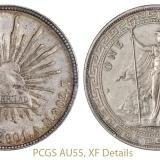"""1901年墨西哥""""鹰洋""""、1911年香港""""站人""""壹圆银币各一枚,PCGS AU55、XF Details"""