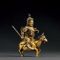 清乾隆 铜鎏金关公骑乘像