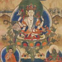 清中期(19世纪) 不空绢索观音唐卡