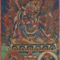 清乾隆(18世纪) 双身马头金刚唐卡