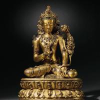 明早期(15世纪) 铜鎏金嵌银莲花手观音
