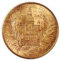 首届巴拿马太平洋万国博览会最佳作品金奖铜鎏金代用币三枚