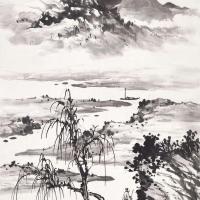 黄君璧 江畔觅句