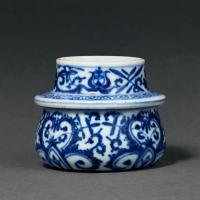 清雍正 青花缠枝花卉纹轴头罐