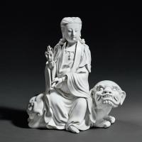 清晚期 德化窑白瓷狮吼观音
