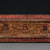 元(13至14世纪) 浮雕彩绘护经板