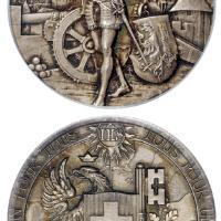 1887年瑞士日内瓦射击节纪念银章/PCGS SP63