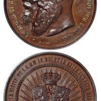1884年比利时国王与荷兰女王访问布鲁塞尔纪念铜章/PCGS SP63