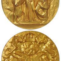1897年比利时布鲁塞尔世界博览会铜鎏金荣誉奖章/NGC MS63