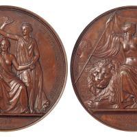 1855年比利时独立二十五周年纪念铜章/NGC AU58BN