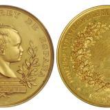 1890年西班牙马德里科学博览会铜鎏金纪念章/NGC MS62