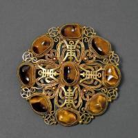 民国时期银鎏金嵌宝石胸花