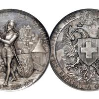 1887年瑞士日内瓦射击节纪念银章/NGC MEDAL MS64