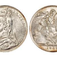 1887年1克朗马剑银币/PCGS MS62