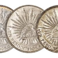 """墨西哥""""鹰洋""""银币三枚/均PCGS评级"""
