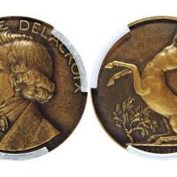 1863年法国欧仁·德拉克罗瓦像纪念铜章/PCGS SP64