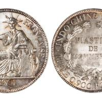 """1901年法属安南""""坐洋""""壹圆银币/PCGS MS65"""