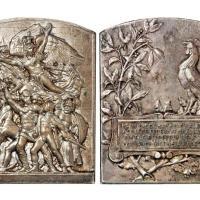 1920年法国尼斯体操节纪念镀银铜章/NGC MS62