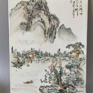民国山水纹瓷板画